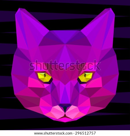 Abstract geometric cat portrait. Graphic polygonal cat. Cat isolated on black painted in imaginary purple colors for use in design card, invitation, poster, book. Nature, animal and wildlife theme.