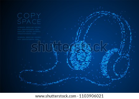 Abstract Geometric Circle dot pixel pattern Headphone shape, music instrument concept design blue color illustration isolated on blue gradient background with copy space, vector eps 10
