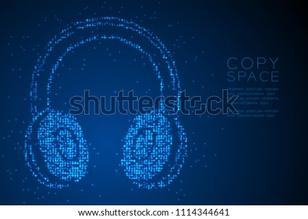 Abstract Geometric Circle dot pixel pattern Wireless Headphone shape, music instrument concept design blue color illustration isolated on blue gradient background with copy space, vector eps 10