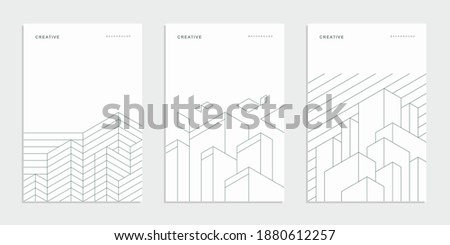 Abstract geometric company brochure. Architectural construction. Corporate identity flyer. Vector set business presentation.