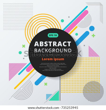 Abstract geometric composition forms modern background with colorful decorative triangles and patterns backdrop vector illustration for print, ad, magazine
