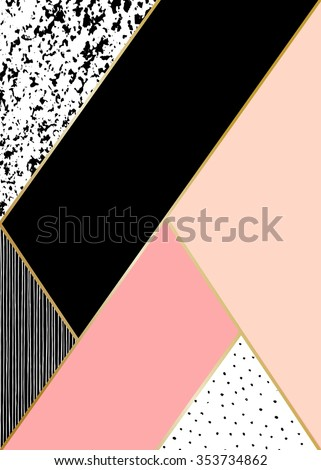 Abstract geometric composition in black, white, gold and pastel pink. Hand drawn vintage texture, lines, dots pattern and geometric elements. Modern abstract design poster, cover, card design.