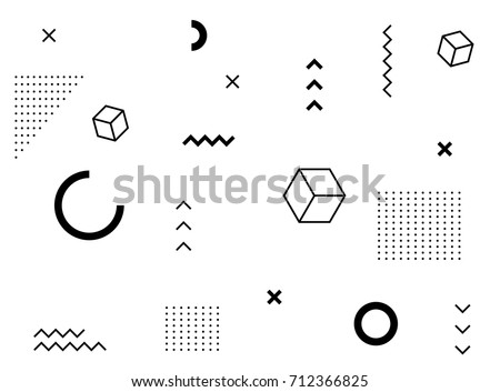 Abstract geometric composition of geometric shapes. Black isolated shapes.