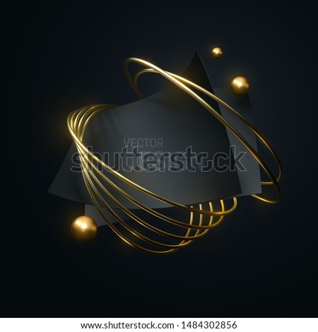 Abstract geometric composition with black curvy paper sheets, golden rings and spheres. Vector 3d illustration. Luxury banner template. Geometry objects. Fashion composition. Jewelry label design stock photo