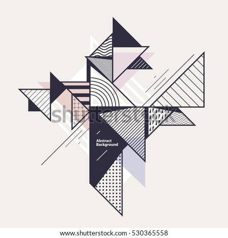 Abstract geometric composition with decorative triangles #530365558