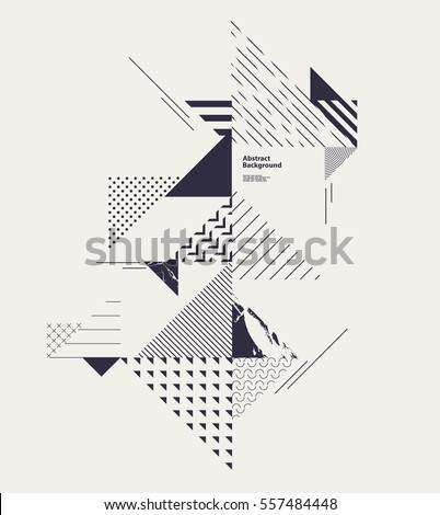 Abstract geometric composition with decorative triangles #557484448