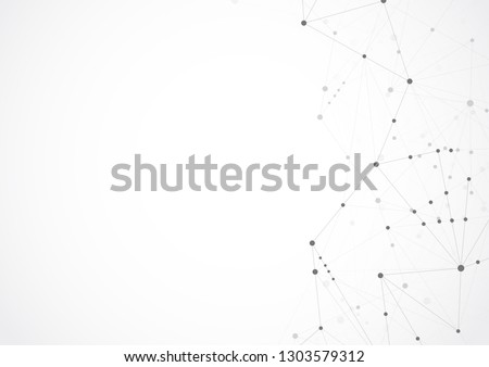 Abstract geometric connecting dots and lines. Connection science and Digital technology background. Molecular structure and communication. Vector illustration