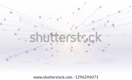 Abstract geometric 3d interconnected structure, technology background. Connected in one point lines with dots. Vector 3d illustration. Template for presentations, posters, cover, leaflets. ストックフォト ©