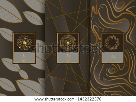 Abstract geometric floral art decor golden background template for menu card, invitation design in vector