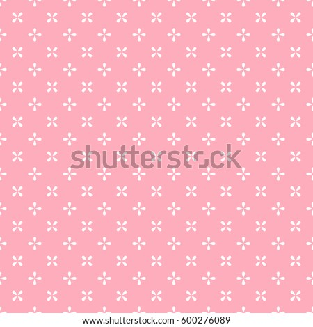 Abstract geometric floral pattern. Repeating seamless vector background. Pink and white texture.