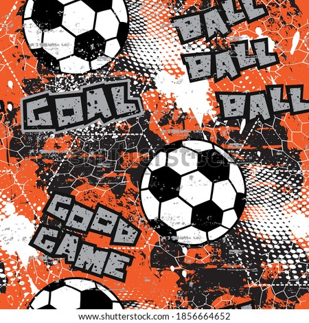Abstract geometric Football, soccer ball seamless pattern with vertical fading lines. Tracks, halftone stripes. Extreme sport style illustration. Trendy Urban colorful backdrop. Grunge, neon texture.