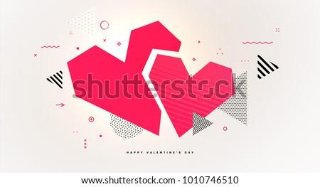 Abstract geometric glitch art love heart for Valentine's Day invitation card design