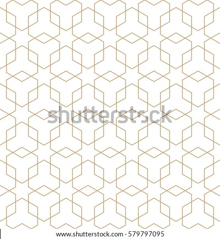 Abstract geometric golden deco art hexagon pattern