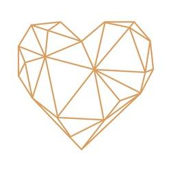 Abstract geometric heart vector illustration