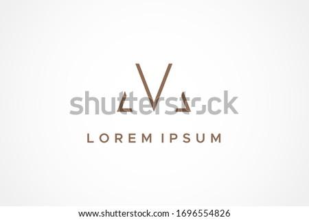 Abstract Geometric Line Initial Letter M or VM Logo. Flat Vector Logo Design Template Element. Stock fotó ©