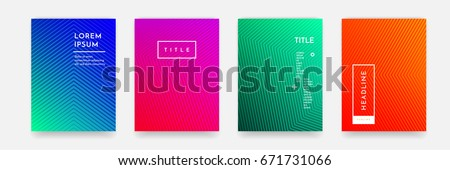 Abstract geometric line pattern background for business brochure cover design. Blue, red, orange and green vector banner poster template