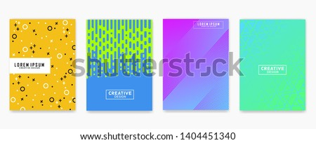 Abstract geometric line pattern background for business brochure cover design. Blue, yellow, red, orange, pink and green vector banner poster. Eps 10 #1404451340