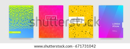 Abstract geometric line pattern background for business brochure cover design. Blue, yellow, red, orange, pink and green vector banner poster template - Shutterstock ID 671731042
