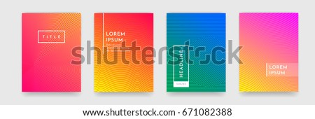 Abstract geometric line pattern background for business brochure cover design. Bright red, orange, pink, blue and green gradient vector banner poster template