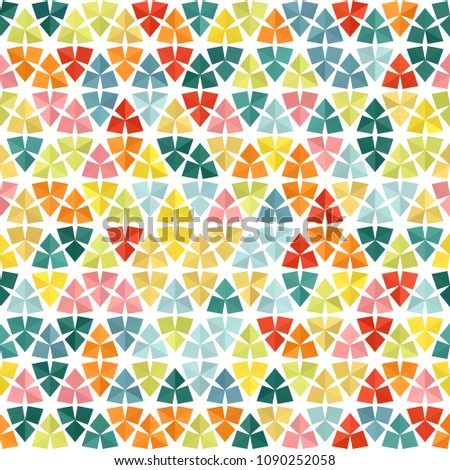 Abstract geometric low poly hexagon diamond triangle ornament vector illustration. Seamless pattern. Spring summer mosaic texture background for prints, textile, fabric, package, cover, greeting card