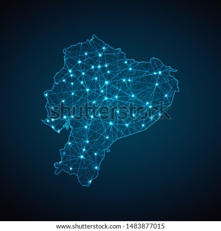 Abstract geometric mesh polygonal light Ecuador map. Business wireframe mesh spheres from flying debris. Blue structure style vector illustration concept.