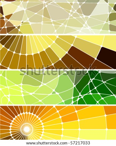 abstract geometric mosaic banners set