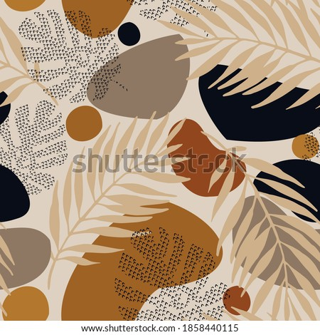 Abstract geometric, natural shapes in minimal nordic style. Modern seamless pattern with tropical leaves, geo elements for minimalist art print, textile, boho wallpaper decor. Vector illustration Stock photo ©