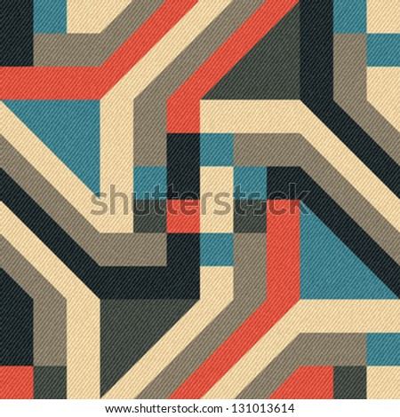 Abstract geometric ornament printed on textured striped fabric background. Seamless pattern. Vector.