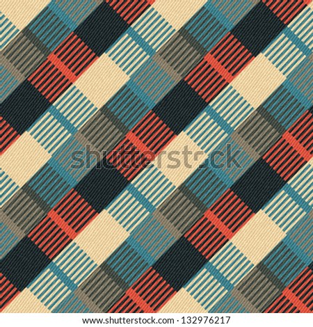 Abstract geometric ornament printed on textured striped fabric background Seamless pattern Vector