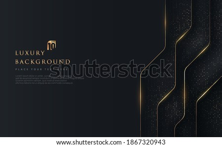 Abstract geometric overlapping on black background with glitter and golden lines glowing dots golden combinations. Modern luxury and elegant design with copy space. Vector illustration