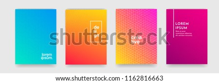 Abstract geometric pattern background with line texture for business brochure cover design. Gradient Pink, orange, purple, blue and green vector banner poster template