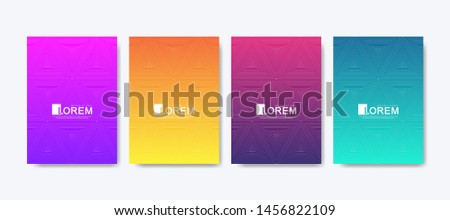 Abstract geometric pattern background with lines texture. Modern colorful abstract gradient pattern background for poster cover design web brochure leaflet flyer banner. Wave shapes bright gradient. #1456822109