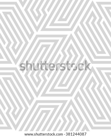 Abstract geometric pattern by lines, hexagons. A seamless vector background. White and gray texture