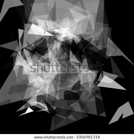 Abstract geometric pattern consisting of triangles of various sizes and transparency on a black background #1006981318