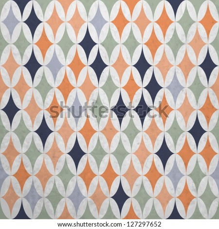 Abstract geometric pattern in retro colors with grunge texture, Vector