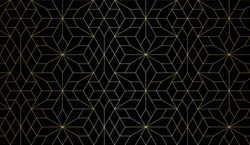 Abstract geometric pattern with crossing thin gold lines and polygons on black. Seamless linear rapport. Stylish fractal texture. Vector Art Deco pattern to fill the background, laser engraving