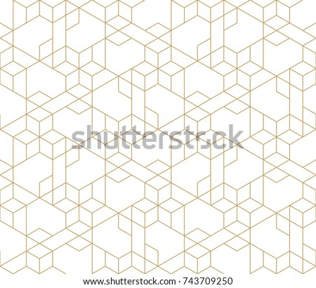 Abstract geometric pattern with crossing thin golden lines on white background. Seamless linear rapport. Stylish fractal texture. Vector pattern to fill the background, laser engraving and cutting. - Shutterstock ID 743709250