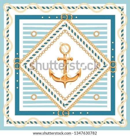 Abstract geometric pattern with golden chains, rope, belts, anchor and marine stripes. Marine background. Fashion print for textile, scarf, silk shawls and cravat design. Vector illustration.