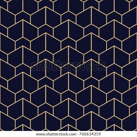 Abstract geometric pattern with lines. A seamless vector background. Blue black and gold texture