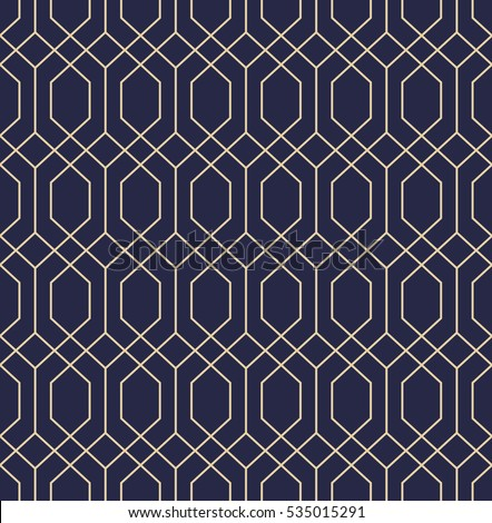 Abstract geometric pattern with lines. A seamless vector background. Dark blue and gold texture