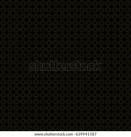 Abstract geometric pattern with lines and overlapping squares. Seamless vector background in black and gold color. Texture. Vector.