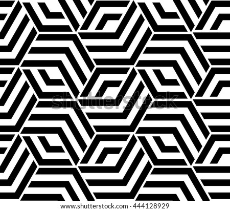 High Quality Abstract Geometric Pattern With Lines, Rhombuses A Seamless Background. Black  And White Texture.