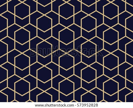 Abstract geometric pattern with lines, rhombuses A seamless vector background. Blue-black and gold texture - Shutterstock ID 573952828
