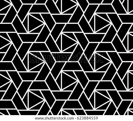 Abstract geometric pattern with lines, squares. A seamless vector background. Black and white pattern