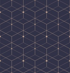 Abstract geometric pattern with lines, squares . A seamless vector background. Dark blue and gold texture.