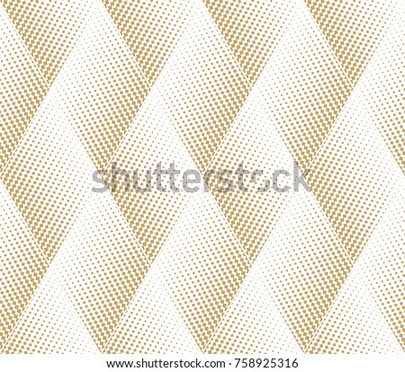 Abstract geometric pattern with points, rhombuses. A seamless vector background. White and gold texture. Graphic modern pattern.