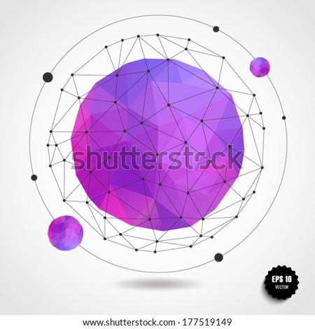 Abstract Geometric Pink Violet Spherical Shape From