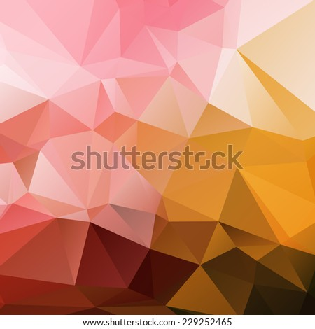 Abstract geometric polygonal background, looks like stylized sunset or fire. - stock vector