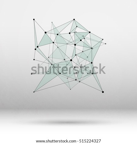 Abstract Geometric Polygonal Shape. Futuristic Technology Vector Science Background. Connecting Dots and Lines Structure