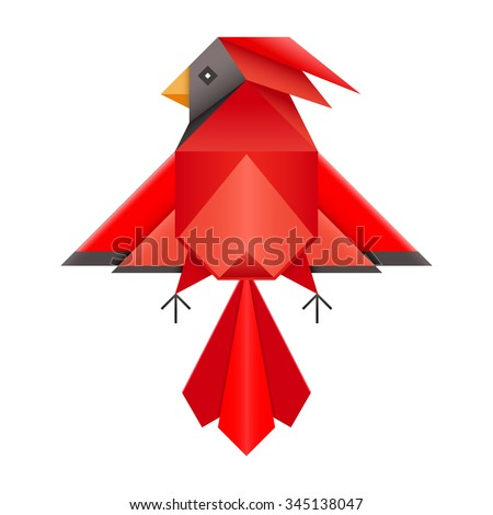 Stock Photo Abstract geometric red cardinal bird. Triangle low polygon design northern cardinal. Folded paper Japanese origami phoenix. Red cardinal or phoenix logo symbol pictogram.